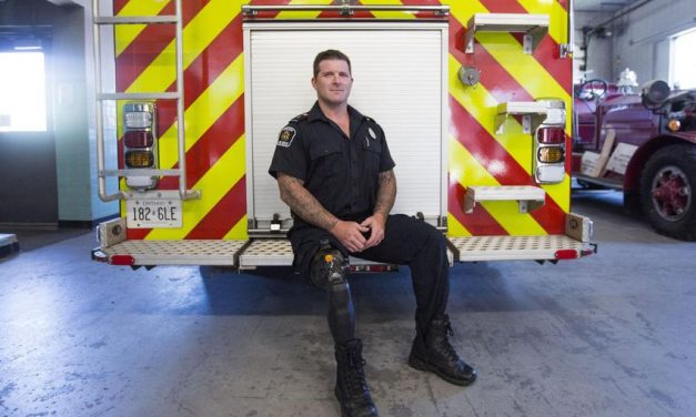 He battled back from the brink of death. Now he's back fighting fires