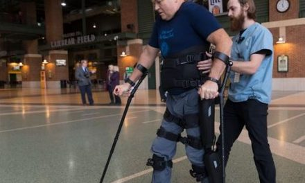 For 27 years this paralyzed Air Force veteran could not walk. <br> Now a robotic exoskeleton has him on his feet.