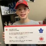 Cancer survivor Brock Chessell meets Toronto Maple Leafs